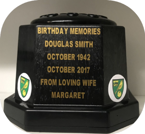 Norwich F. C.  football personalised Grave pot